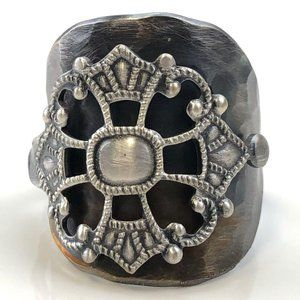 Vintage Silverplate hammered thumb spoon ring